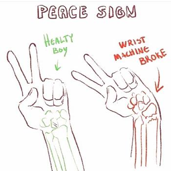 Drawing a peace sign Credit: SUPPORT THE ARTIST!! . . -'๑'- fol