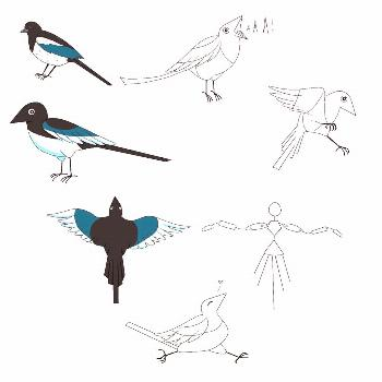 Magpie concept art I did for . The actual puppet is going to have