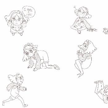 Part 2 of One for Sorrow character design with some action poses