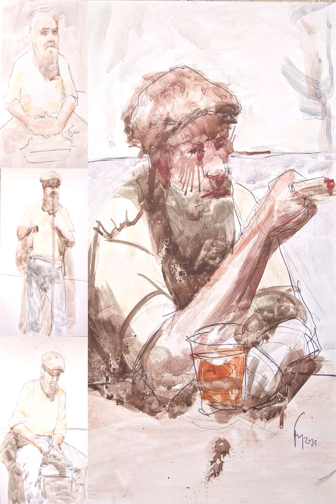 5 to 30 minutes rollerball and watercolor sketches. Thanks for or