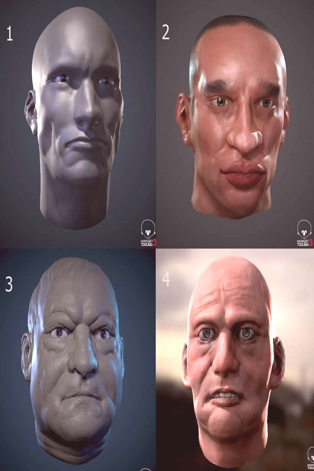 A collage of head sculpts ....might continue to do these. Fun! Tr