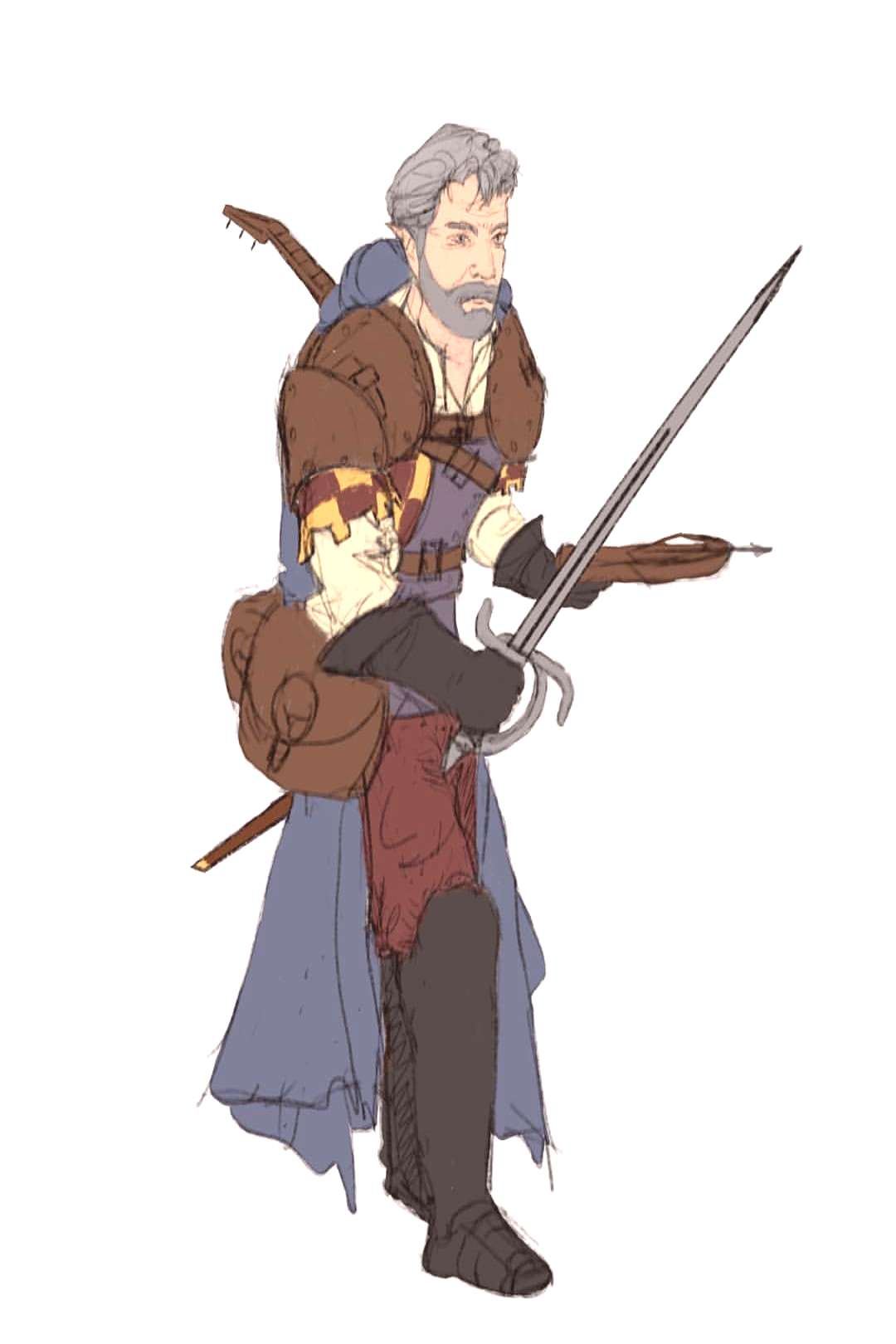 Blocking and initial colouring fase. #bard #charactercreation #ch
