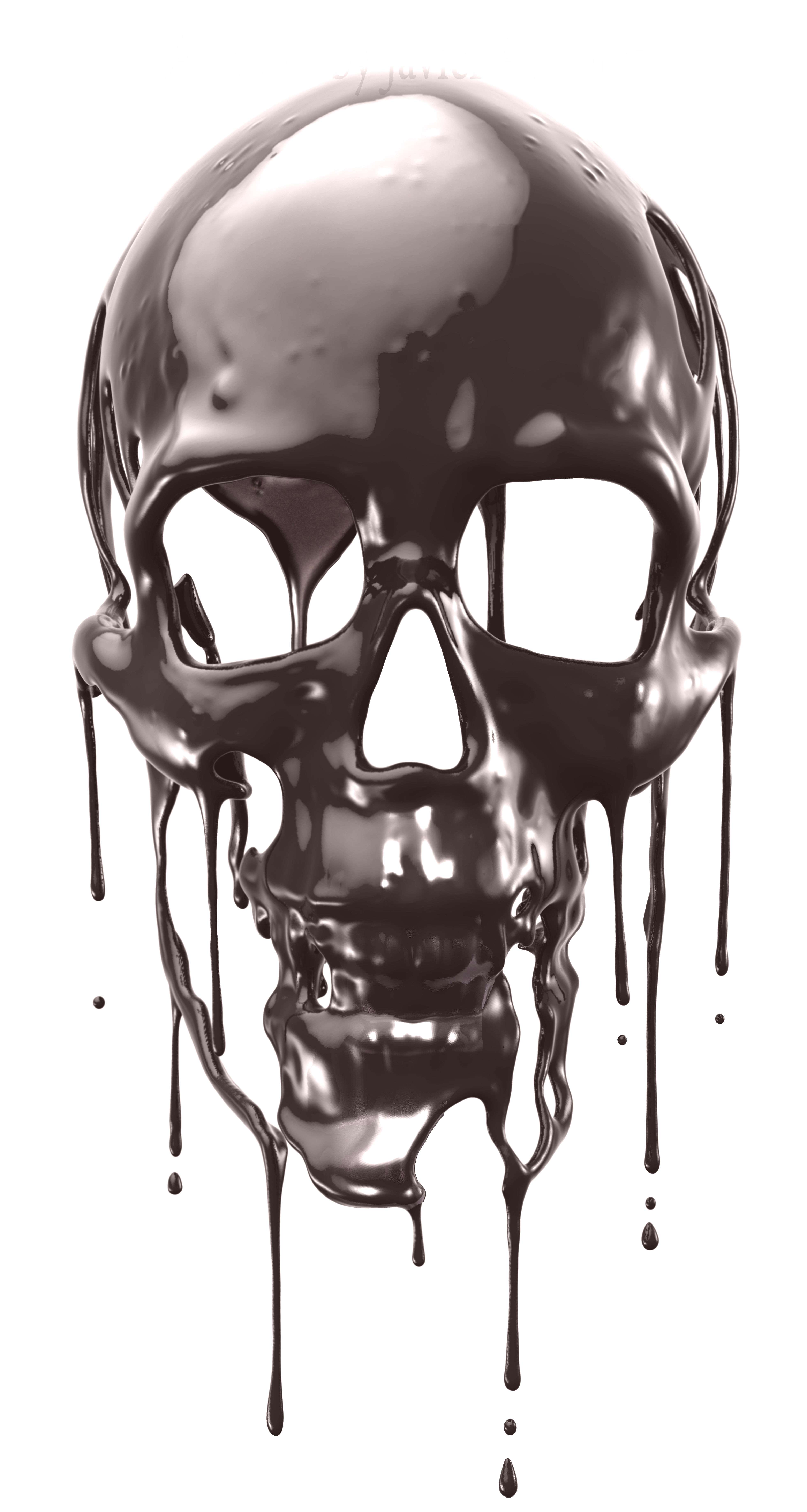 Dripping skull Rendered using Zbrush, then finalized in Photoshop by Javier Antu... - Dripping sku