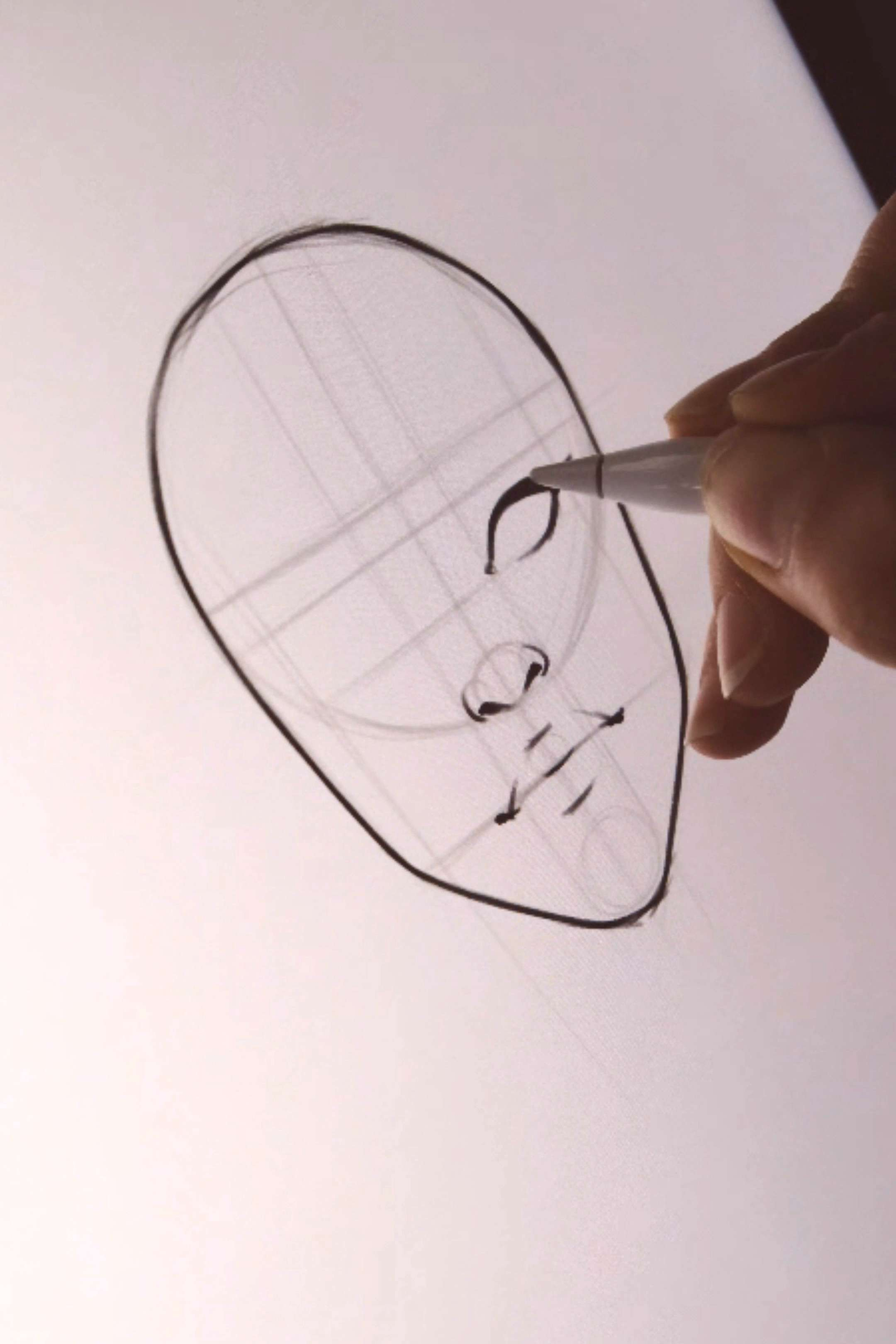 Easy face drawing tutorial with construction lines by AlicjaNai