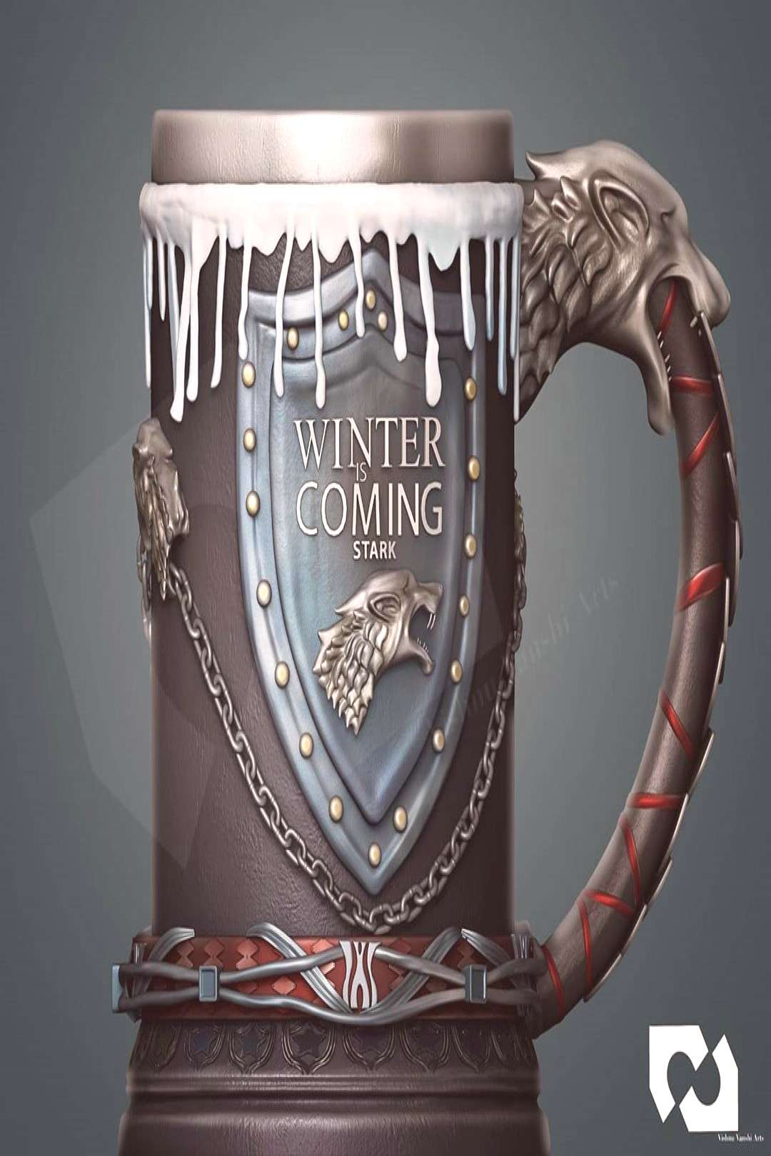 Game of thrones 3d mug for 3d printing and production ready . Get