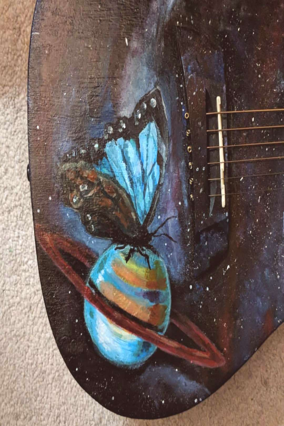 Repainted an old project from 2017 Acrylic on 36quot guitar #artofth