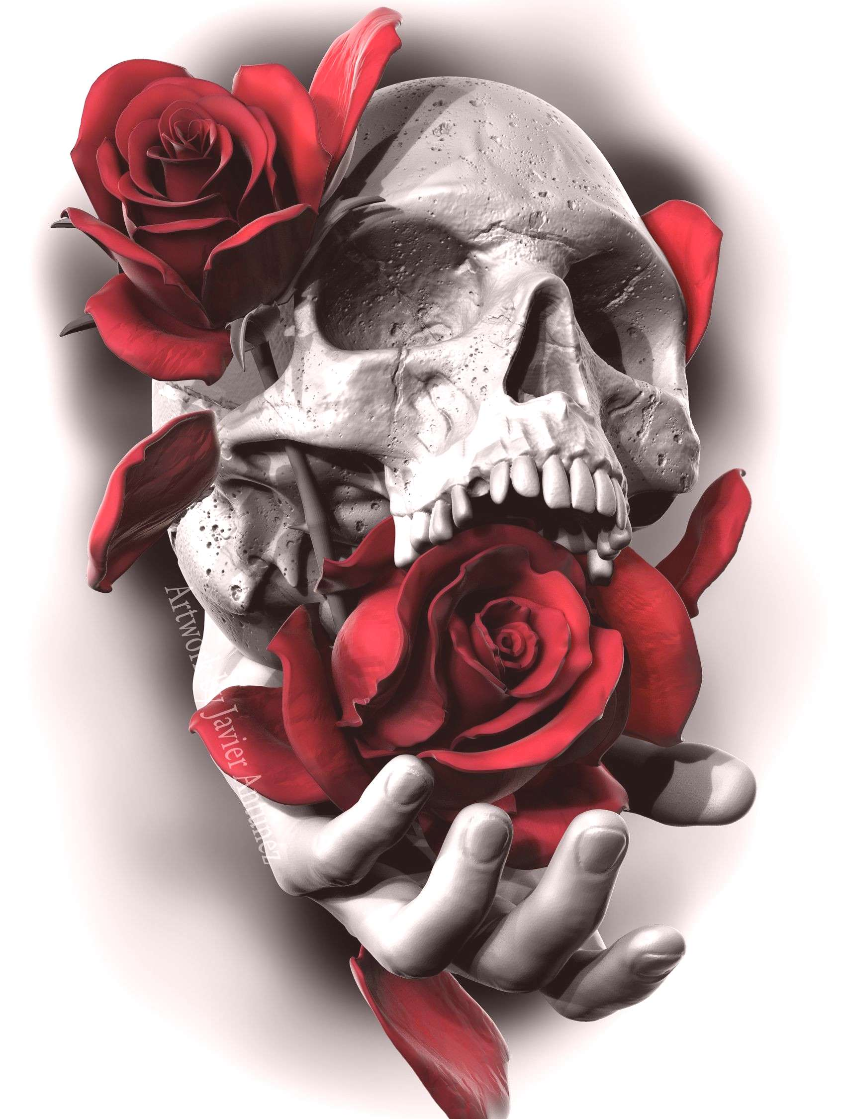 Skull and Roses Rendered using Zbrush, then finalized in Photoshop by Javier Ant... - Skull and Ro