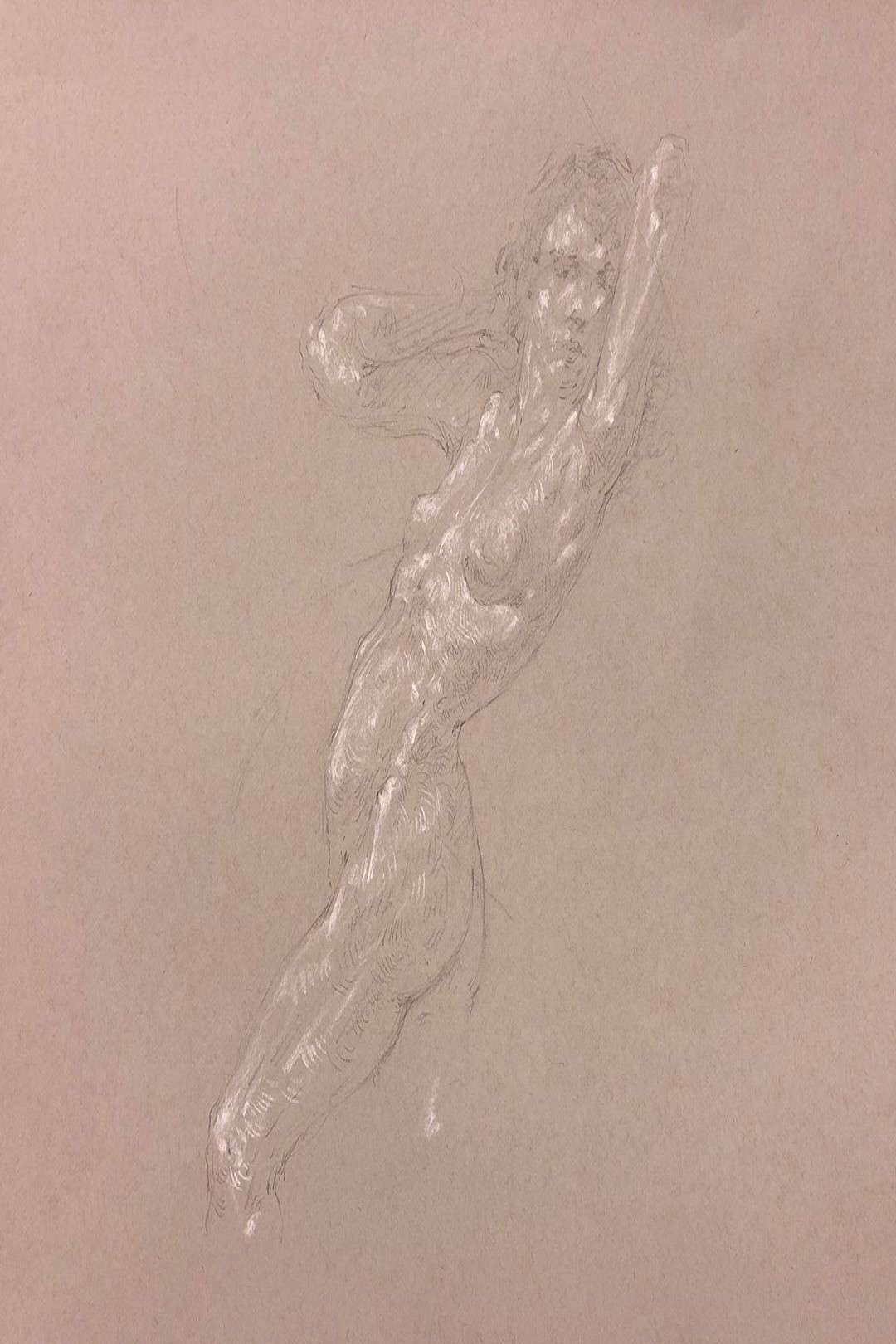 Todays torso long pose demo at our school. Also my homework for
