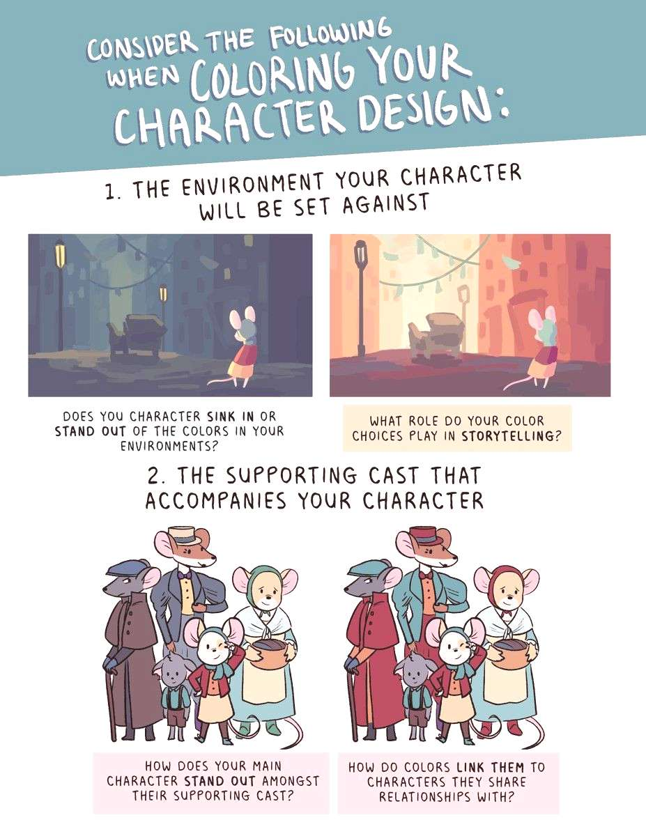 What to consider when coloring you character design pg 2
